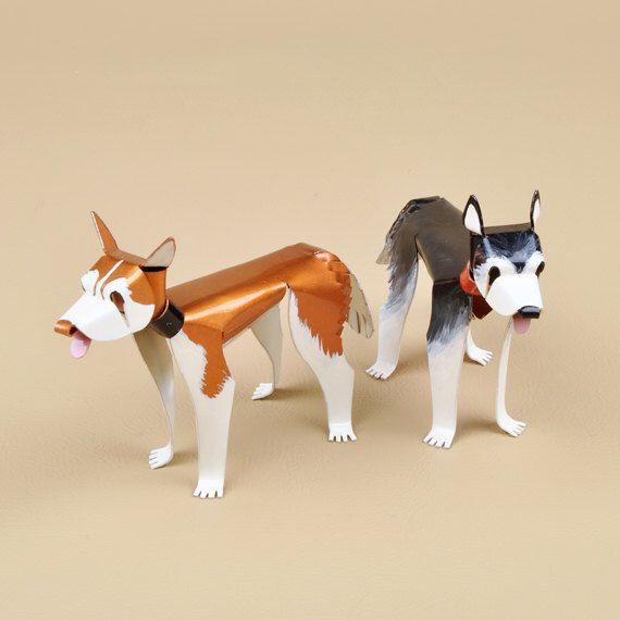 "Siberian Husky Dog Sculpture 2.5"" tall x 3.75"" long Handmade Copper Miniature by EricasCreatures on Etsy https://www.etsy.com/listing/200128113/siberian-husky-dog-sculpture-25-tall-x"