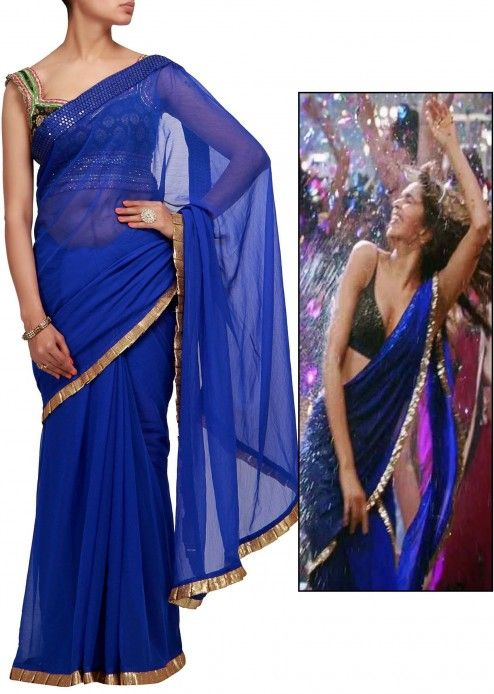 Royal blue saree with sequence frills