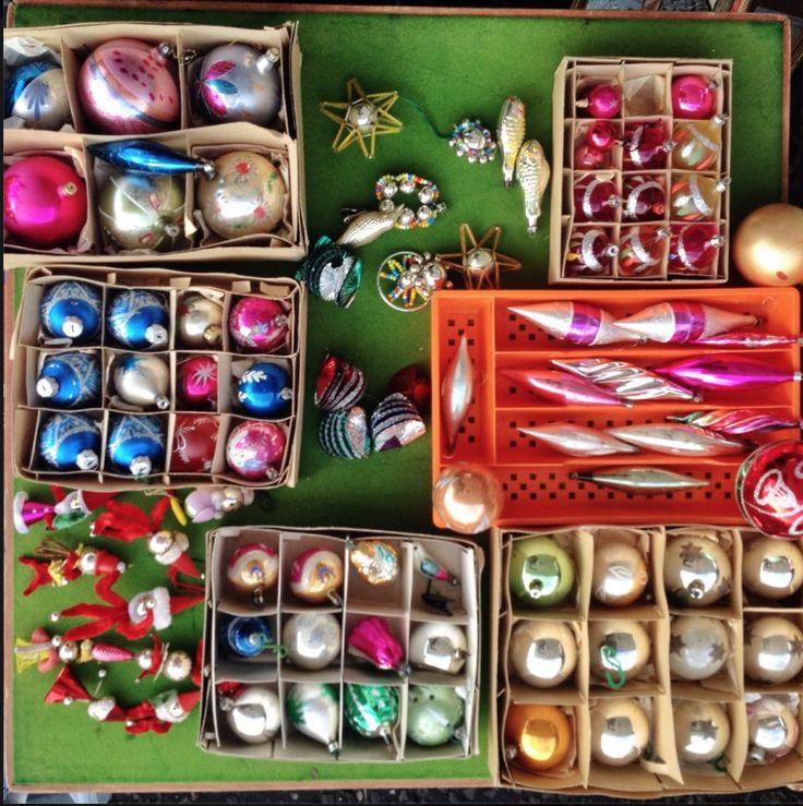 vintage Christmas ornaments from Portobello Market.