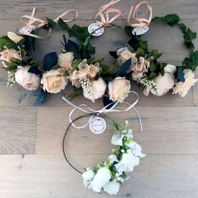 http://lillyandlace.com.au/product-category/search/bridal-silk-flower-crowns/ Bridal Party Rustic Peach White Flower Silk Crowns