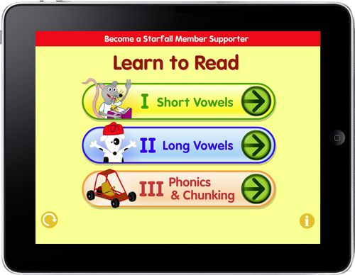 INSTRUCTION: Starfall Learn to Read is an app that can be downloaded on Andriod, iPad, iPhone, and iPod Touch. This app includes 15 mini books each with a focus on a vowel and includes videos and activities which foster the development of phonics skills. The fact that the program integrates technology and is fun promotes engagement and motivation for literacy.
