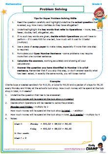 Workbooks - Grade 4 - Mathmatics : Problem Solving Workbook