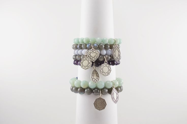 candy stacks in 8mm and 10mm. all natural gemstone beads and sterling silver, from my Eastern Facets Collection. Labradorite, Blue Lace Agate, Amazonite, and Amethyst all shown.