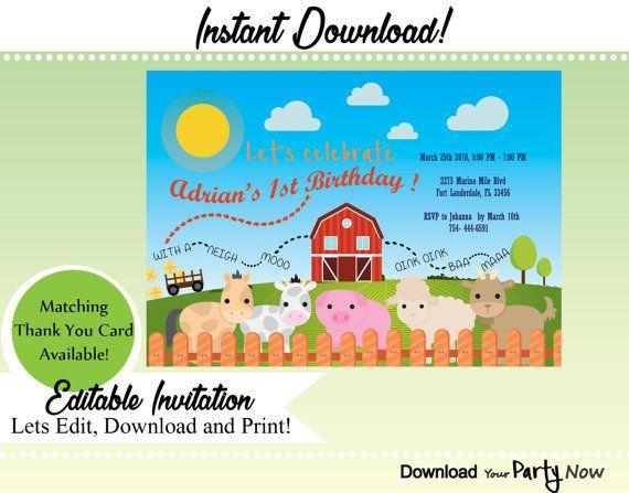 Farm Invitations Farm Party Invitations Farm Birthday Party  Barnyard Party INSTANT DOWNLOAD animals invitation