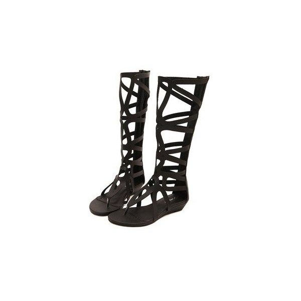 Bohemia Gladiator Flat Knee High Zipper Sandals ($29) ❤ liked on Polyvore featuring shoes, sandals, black, gladiator sandal, flat pumps, rubber sandals, summer flats and black summer sandals