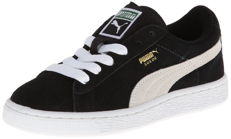 PUMA Suede Junior Sneaker (Little Kid/Big Kid) , Black/White, 11.5 M US Little Kid. Classic suede sneaker with signature Formstrip and perforated detailing at midfoot. Removable Kinder-Fit sockliner and cushioned midsole. Non-marking rubber outsole.