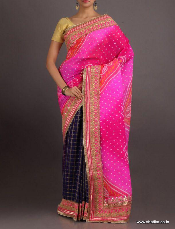 Vishakha Checks And Color Pure Crepe Chiffon #BandheSaree