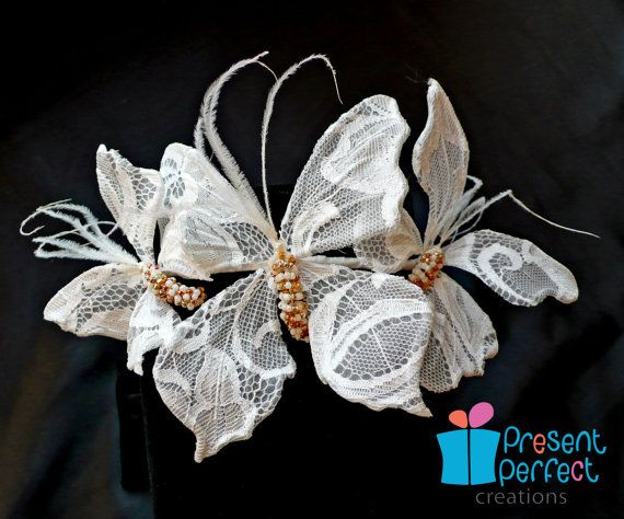 Butterfly tiara, lace buterfly headpiece, white fascinator                                                                                                                                                                                 More