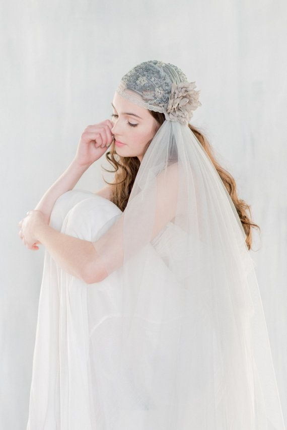 Grey Juliet Veil Lace Wedding By BlairNadeauMillinery On Etsy