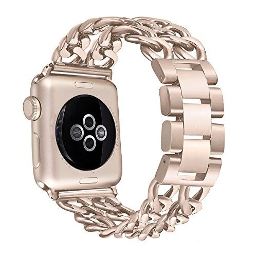 Secbolt Stainless Steel Bands for Apple Watch 38mm iWatch Strap Chain Replacement Wristband for Apple Watch Nike Series 3 Series 2 Series 1 Sport Edition Gold