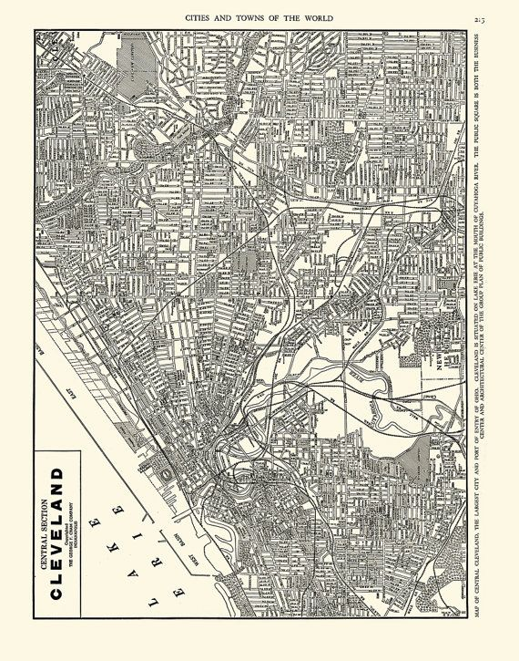 Map of Cleveland Ohio 8.5 x 11 11 x 14 or by michaelellisstudios
