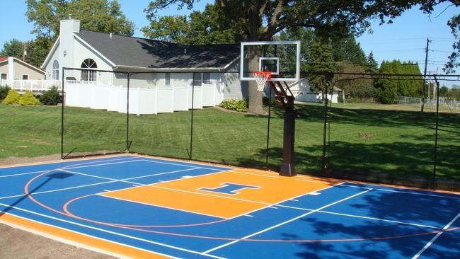 9 best images about backyard basketball on pinterest for Diy sport court