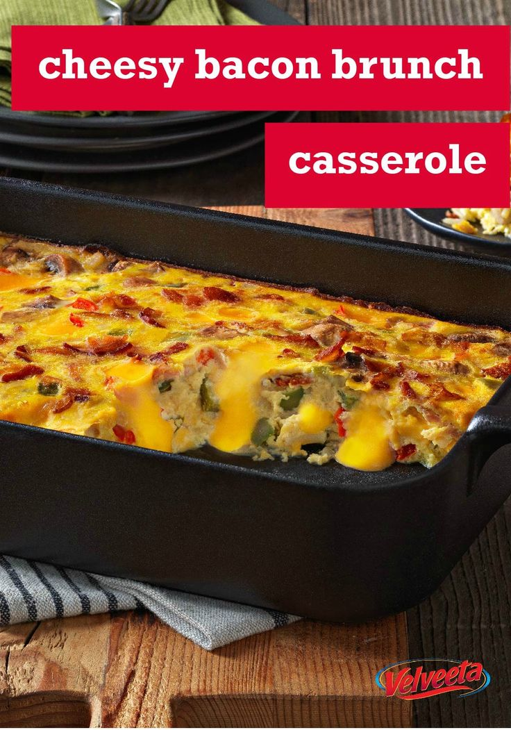 Cheesy Bacon Brunch Casserole – Bacon, eggs and hash browns topped with melty VELVEETA—it's everything you want for brunch in one delicious casserole recipe. Plus, it's easily prepped for the oven in just 30 minutes flat.