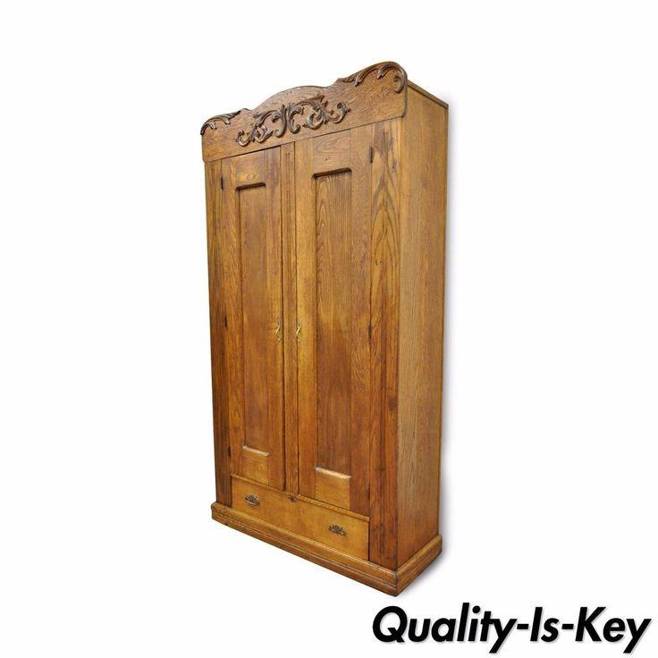 "82"" Antique American Victorian Golden Oak Wood Clothing Wardrobe Dresser Cabinet #Victorian"
