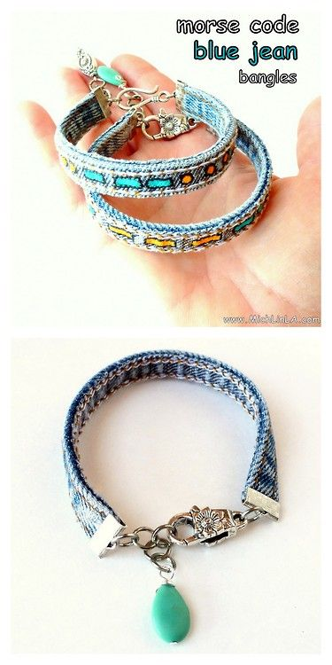 DIY Jean Seam Morse Code Bracelet Tutorial from Mich L. in L.A. here. I actually like these plain - with no painted morse code. Really easy tutorial that uses ribbon crimp ends. I love Morse Code jewelry and have other DIYs posted here: truebluemeandyou.tumblr.com/tagged/morse-code