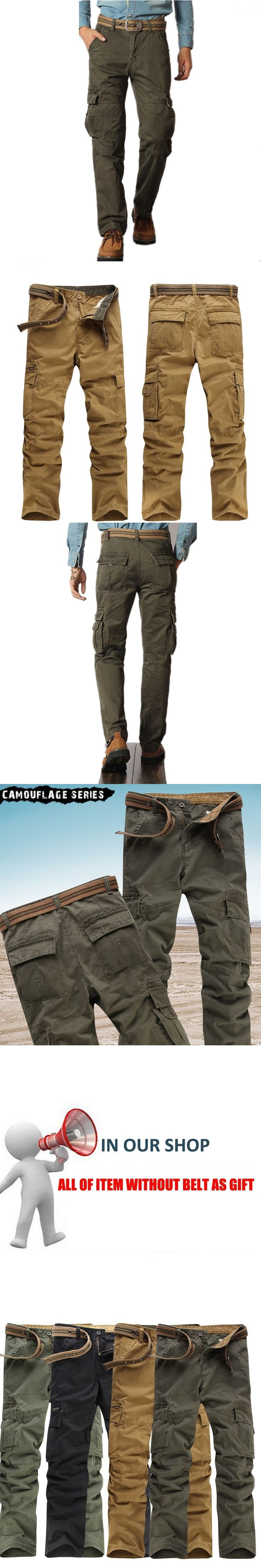 2017 Men Cargo Pants Army Pant Mens Army Outdoors Tactical Military Pants Cotton Long trousers for man grey green no belts 38