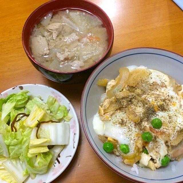親子丼*鰯のつみれ汁*白菜の塩昆布和え - 6件のもぐもぐ - 夕ご飯 by karintou2525