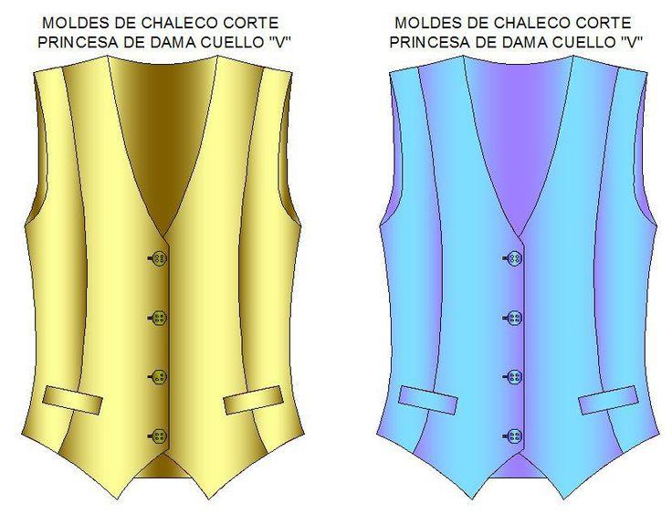 """Patrones digitalizados para fabricar de chaleco cláscio cuello en V o escote en """"V"""" con corte princesa al hombro, bolsas laterales. Selecciona la talla en el formato de impresión que desees."""