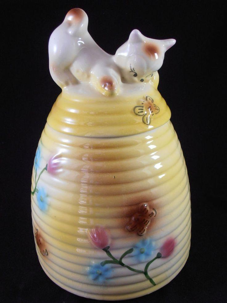 Vtg 1940s kitty cat on beehive cookie jar american bisque stoneware butterfly cookie jar envy - Beehive cookie jar ...