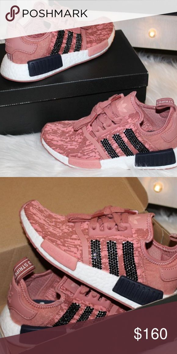 Adidas NMDs 5.5 with black Swarovski crystals Super pretty blinged out adadias nmds. Worn only a couple of times, amazing condition. I normally wear a size 5.5-6 and they are a TAD big on me. Adidas run big so I would say if you are a 6 or 6.5 they will fit  This color is sold out in this size everywhere I look. adidas Shoes Sneakers