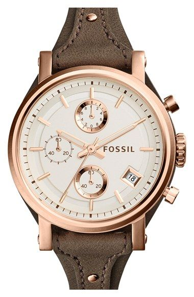 Fossil+'Original+Boyfriend'+Chronograph+Leather+Strap+Watch,+38mm+available+at+#Nordstrom