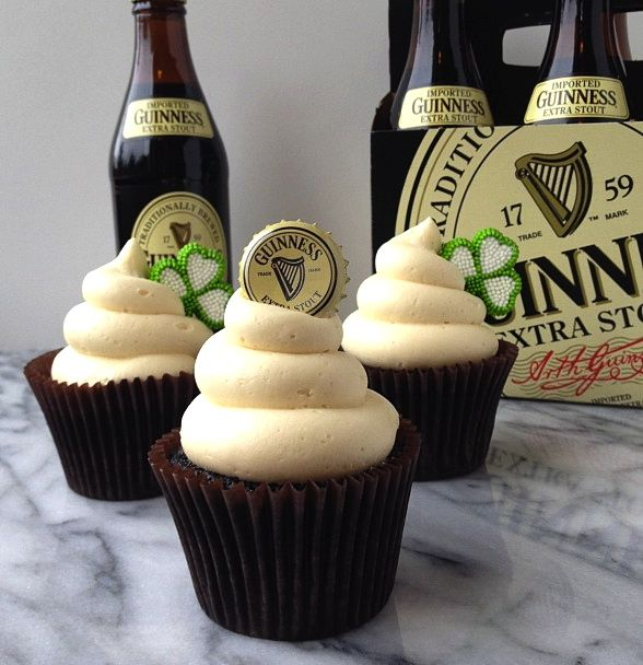 Chocolate Guinness Cupcakes with Irish Cream Buttercream