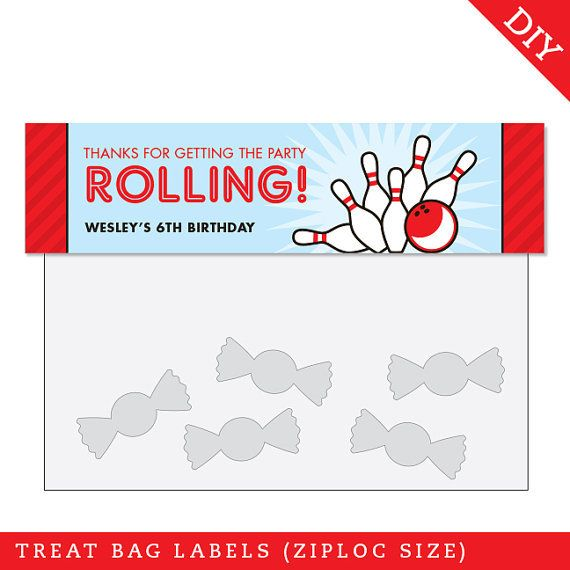 Bowling Party Treat Bag Label (Digital File) - Strike up some fun with this awesome bowling party theme!