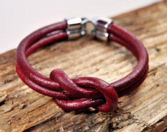 ENVÍO gratuito - pulsera de cuero Unisex, hombres pulsera, pulsera de cuero de los hombres, cuero de cuero rojo hombres pulsera de hombres