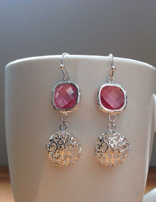 Round silver filigree and pink crystal earrings by PetalJewels