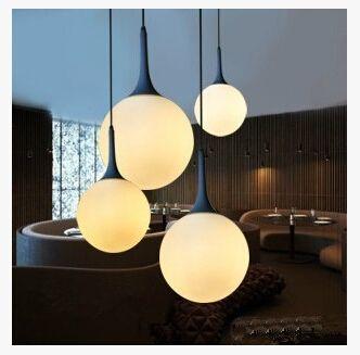Minimalist Modern Milky White Beaver Glass Spherical Chandelier Bubble Ball Corridor Penthouse Floor Living Room Lighting