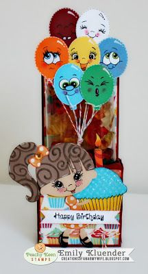 Creations of an Army Wife: Peachy Keen Stamps: Happy Birthday Treat Holder