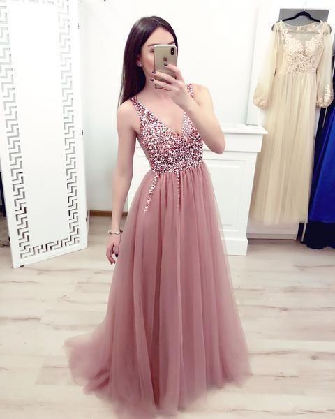 Elegant V neck Tulle Prom Dress with Beading, Tulle Long Homecoming Dress
