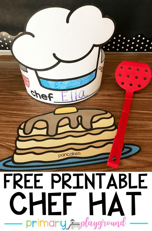 Free printable chef hat community helpers preschool