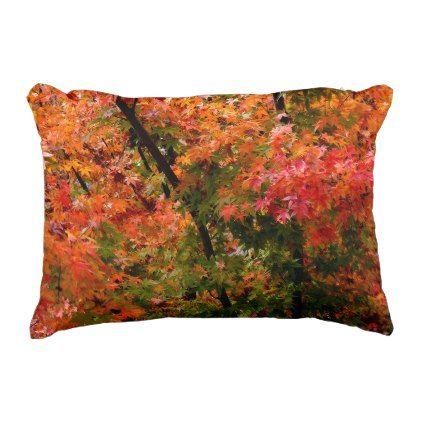 Japanese Maple Leaves Accent Pillow - floral style flower flowers stylish diy personalize