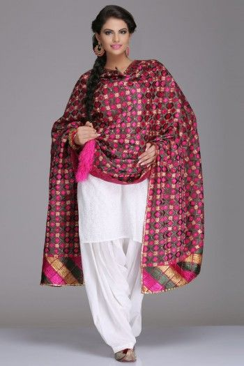 Rich Pink & Green Cotton Bagh Dupatta With Multicoloured Phulkari Embroidery