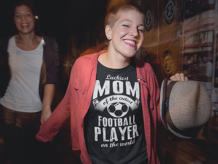 Luckiest Mom of the cutest Football Player on the World - Mother's Day - Mom's T-Shirt - Mother's T-Shirt - Women's T-Shirts #Football #Soccer #MothersDay2017 #MothersDay ** Printed in the USA