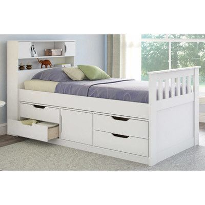 CorLiving Madison Twin Captain Bed with Storage Color: Snow White
