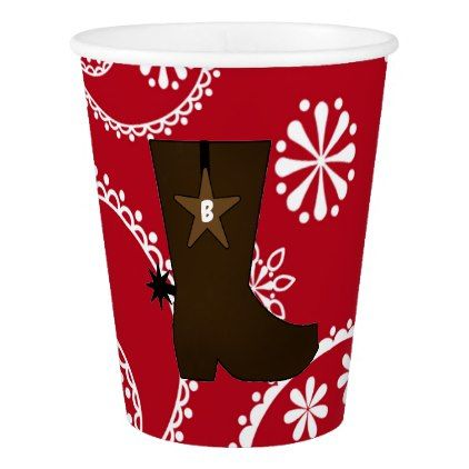 Monogrammed Red Bandana Cowboy Boot Paper Cup - monogram gifts unique design style monogrammed diy cyo customize