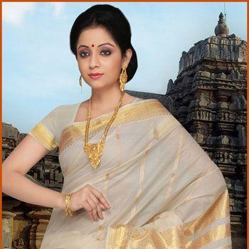 Cream Cotton Kerala Kasavu Saree With Blouse