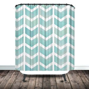 Grey And White Chevron Print Shower Curtain