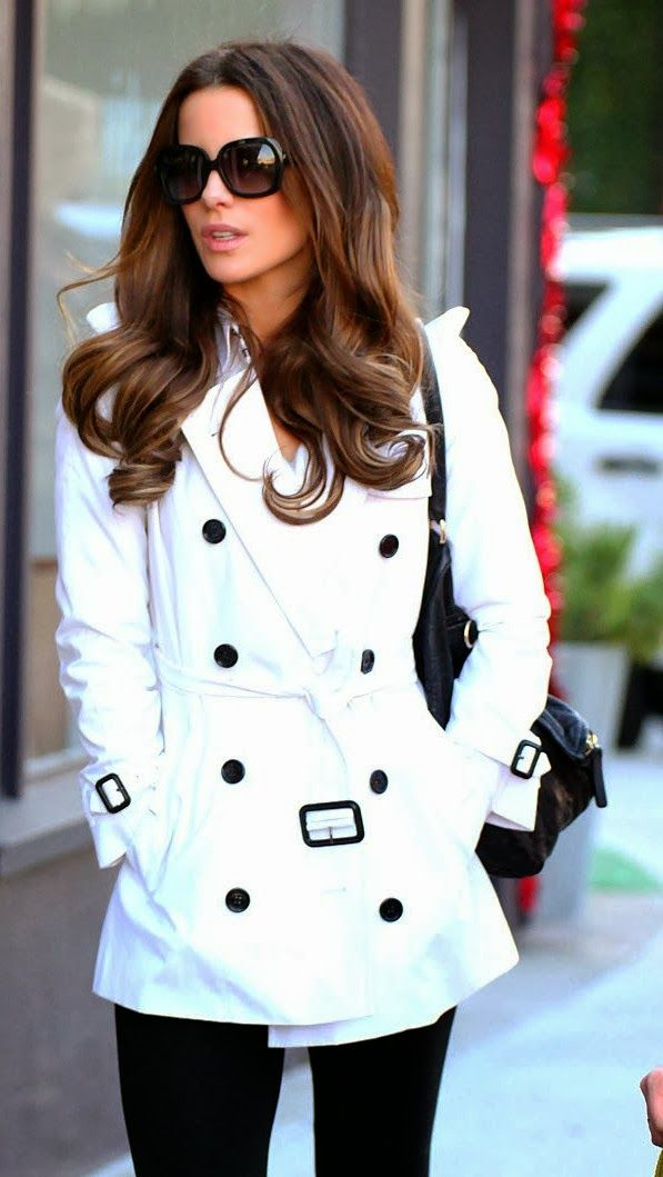 Best for fall white trench coat and black skinny