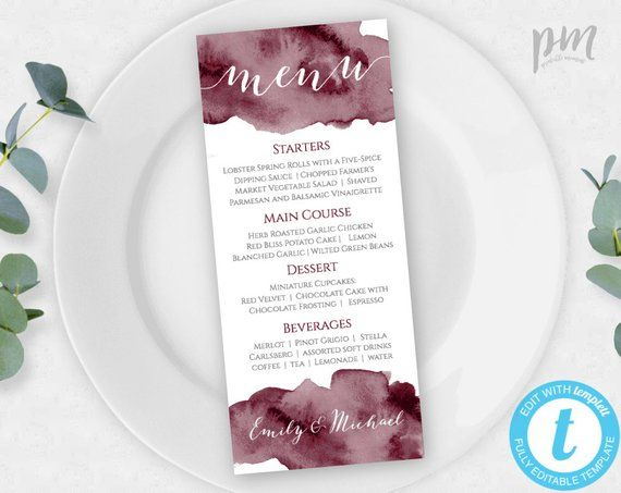 Burgundy Menu for Wedding, Marsala Menu, Printable Menu, Self Edit