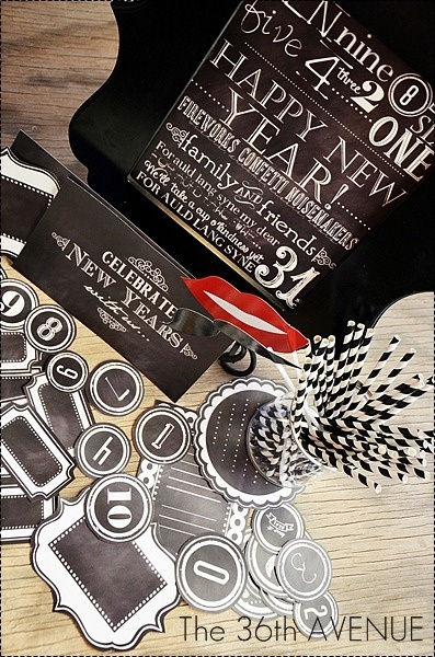 """New Year Party...oh yah! deco for free download...Love Desiree and """"The 36th AVENUE"""" Chalkboard Free Printables and Giveaway. Heart!"""
