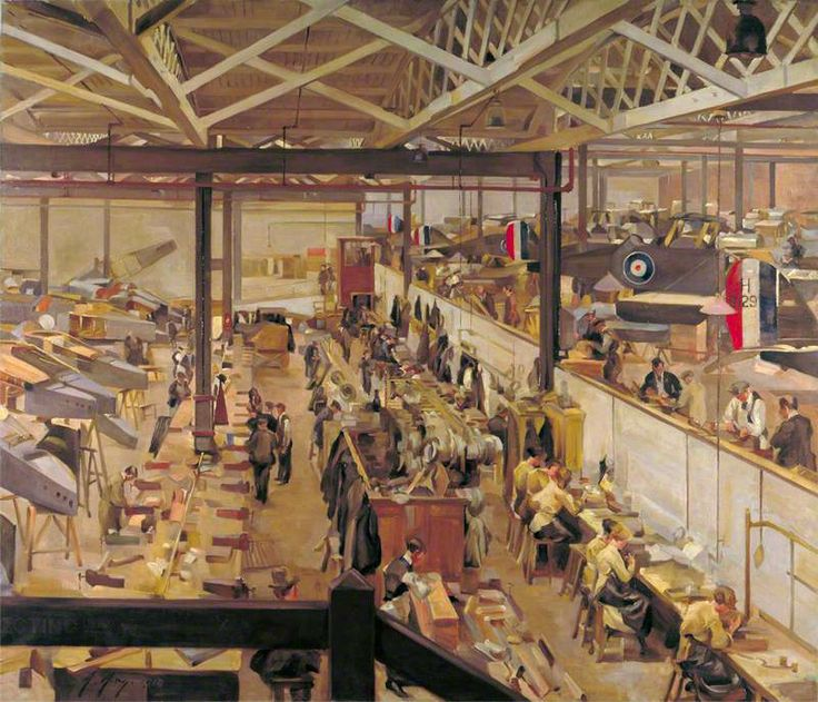 An Aircraft Assembly Shop, Hendon by Anna Airy. Date painted: 1918