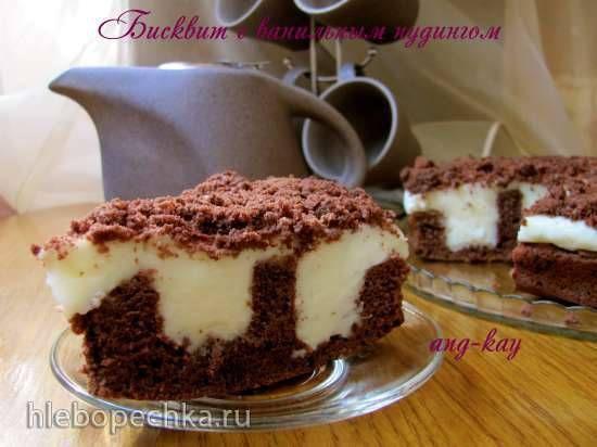 Торт бисквитный с ванильным пудингом Торт бисквитный с ванильным пудингом