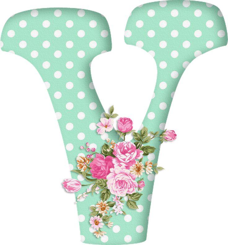 PAPIROLAS COLORIDAS: Abecedario con flores. Letras mayúsculas verdes, puntos blancos. Letra V.