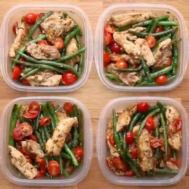 Step up your meal prep game with this delicious pesto chicken & veggies dish ! Who's cooking today?! # Weekday Meal-Prep Pesto Chicken & Veggies Servings: 4 # INGREDIENTS 2 tablespoons olive oil 4 chicken thighs, boneless and skinless Salt, to taste Pepper, to taste 1 pound green beans 2 cups cherry tomatoes, halved ½ cup basil pesto # PREPARATION 1. In a large pan, heat olive oil and add chicken thighs. Season with salt and pepper. When the chicken is completely cooked through, remove f...