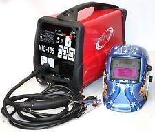 220V MIG 135 Flux Core Welder Dual Function Gas or No Gas Welding & Eagle Helmet