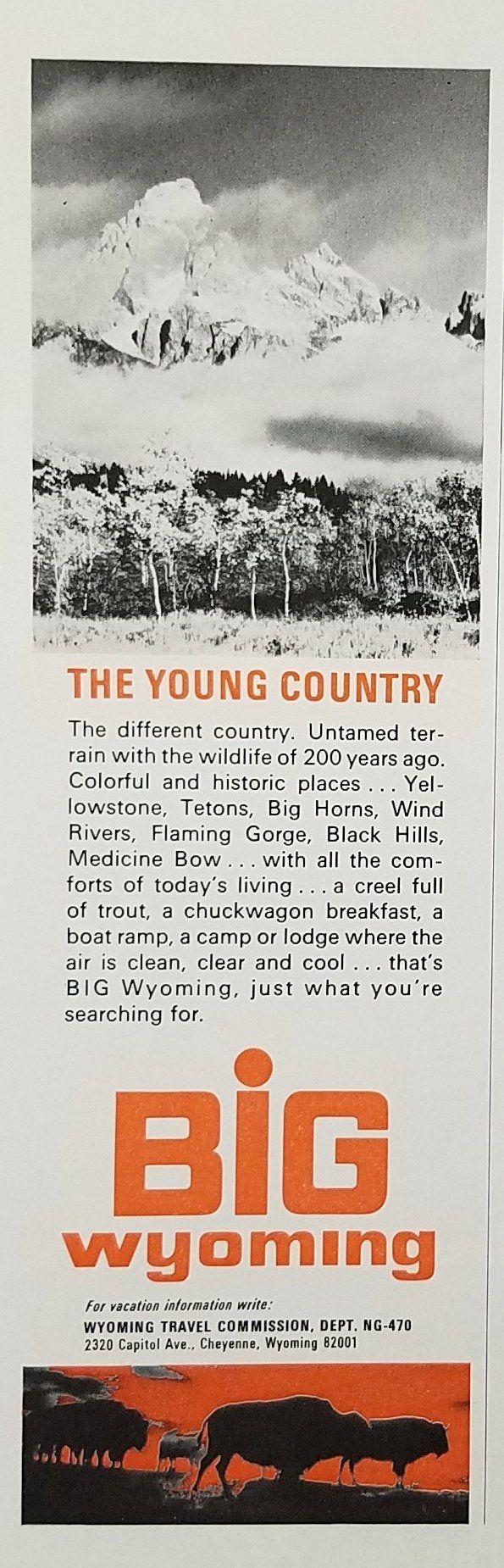 1970's Wyoming Tourist Tourism Vintage Ad