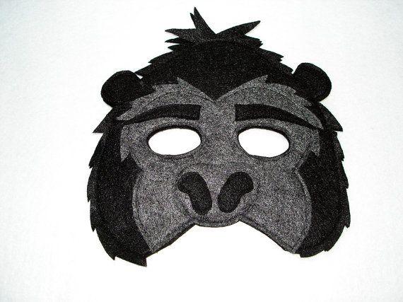 Children's Jungle Animal GORILLA Felt Mask by magicalattic on Etsy, $12.50